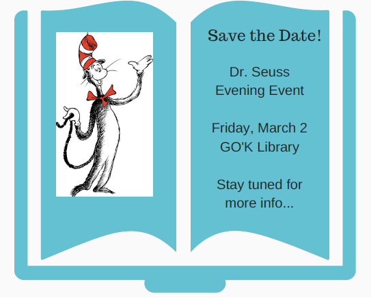 Dr. Seuss Night 2018 save the date flyer